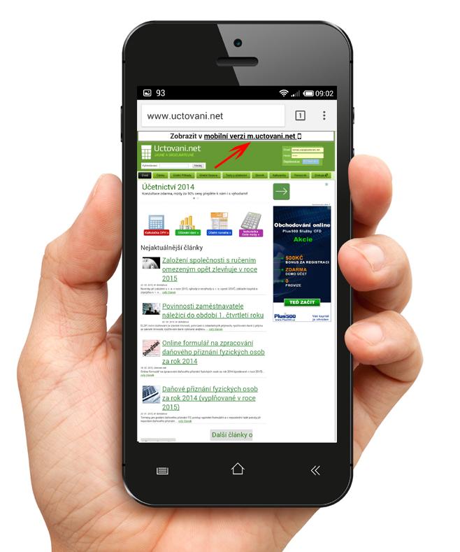Výzva na přepnutí si z desktopové do mobilní verze pouze při návštěvě z mobilu