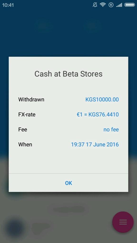 Screen výběru z bankomatu skrze kartu Ravolut