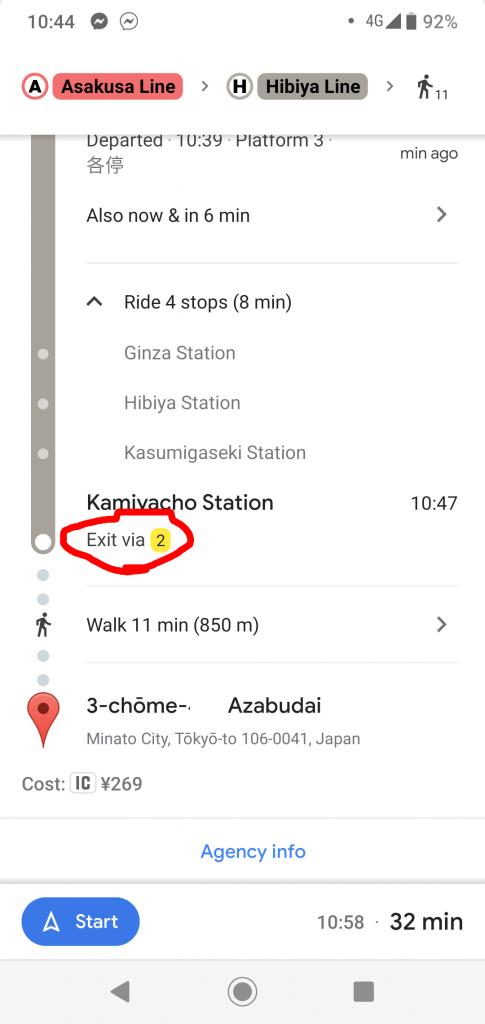 Označení exitu v Google navigaci